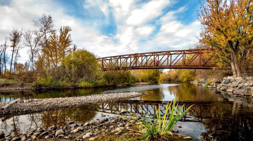 Boise Greenbelt bridge in Garden City, ID