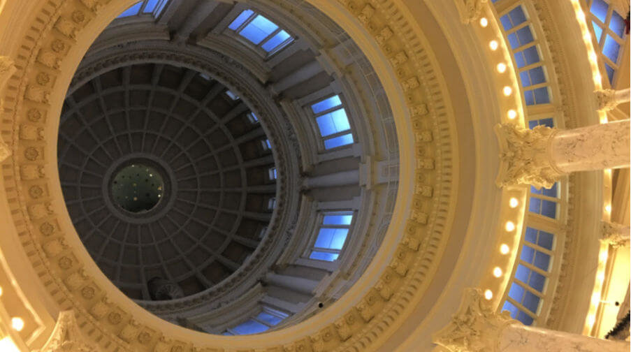View of the Idaho Capitol dome from the rotunda