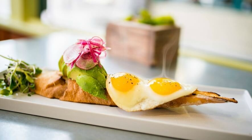 Wild Root Café & Market - Toast with avocado, cage-free eggs.