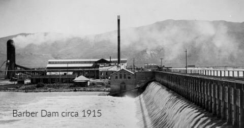 Barber Valley Dam circa 1915 with power plant and mill in the background