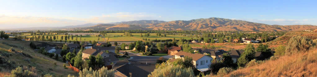 Panoramic of Columbia Village facing the Southeast Boise foothills